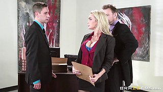 Blonde secretary in ripped pantyhose gets used like a slut at work