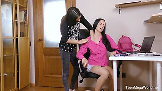Lovely Veronica Snezna has found a dildo in the drawer and it is time for masturbation