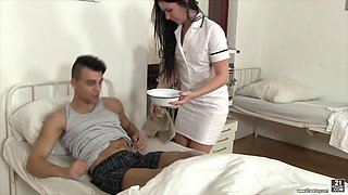 Kittina Ivory is a horny nurse curious about a fat boner