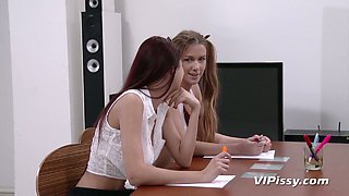 Sexy college girl Paula Shy and her GF fuck their teacher