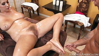 Damn hot brunette Alex Chance gets oiled hairy slit banged by Kurt Lockwood