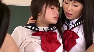 Asian Schoolgirl Worshiped by the Whole Class