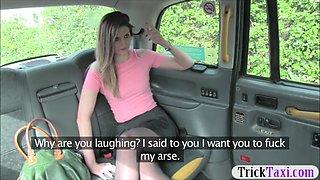 Nasty amateur passenger gets anal banged and fingering