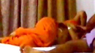 Indian chubby aunty nude on bed with hubby