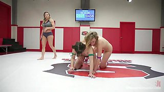 wrestling lesbian submits to the winner after losing match