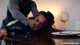 Rude boyfriend fucks hard lovely babe Sofie Reyez on the table and in the bedroom