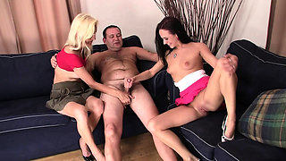 Old couple seduce and fuck son's girlfriend