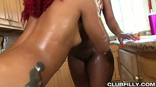 Big tittied ebony harlot Daisy Ducati is eating pussy covered with whipped cream