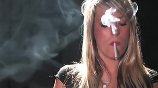 Gloved smoking fetish