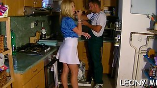 leony gets oiled up and licked video
