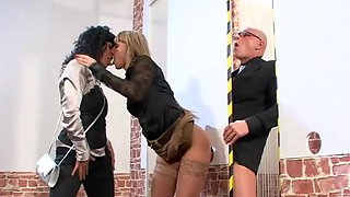 The Inspector Gives a Couple of Horny Babes a Golden Shower