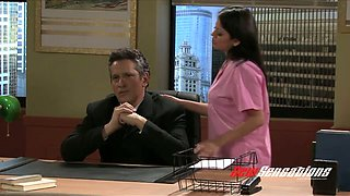 Naked and super hot secretary seduces her boss on the table
