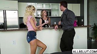 Dirty Horny babysitter Naomi sucks Chad on their kitchen