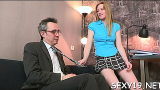 Playgirl is getting her pussy ravished by teacher on the bed