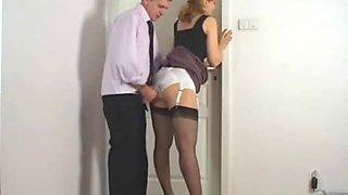 Guy rubbing against secretary satin panties