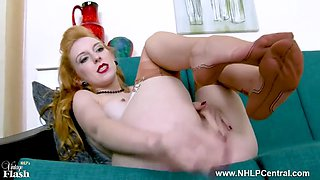 redhead slips off retro lingerie and wanks in vintage nylons