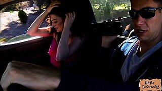 Jessica Rex stripteases in stranger car