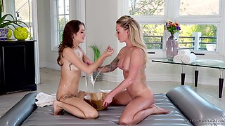 Isabelle Deltore and Alex De La Flor oil each other up and lick pussy