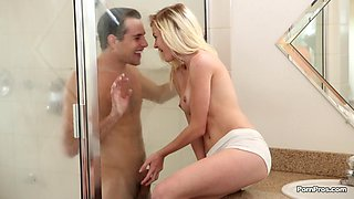 Hot blonde in panties gets fucked in the bathroom by her BF