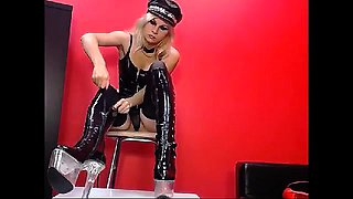 Latex miss strapon fucks blonde fetish babe in domination ff