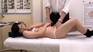 Schoolgirl massaged fingered shaved pussy fucked by the masseur creampie on the massage bed feature