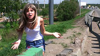 Blonde teen cutie in miniskirt is a hitchhiker masturbating near the highway