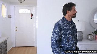 military dads discipline each other's sexy daughters