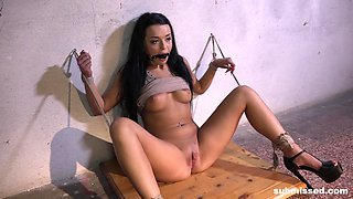 Daphne Klyde is bound and can't move as her pussy gets toyed