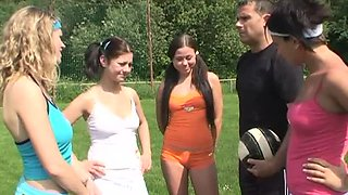 Hot Outdoors Group Sex with Four Members of the Volleyball Team