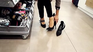 Shoe shopping w my fr  her nylon feet walking