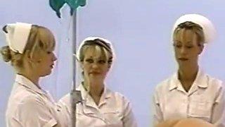 Nurse giving male enema