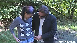 Cute girl Adina gets caught pissing outdoors and mouthfucked at once