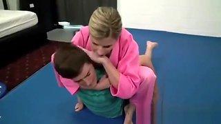 Mom teaches Jiu-Jitsu to her son
