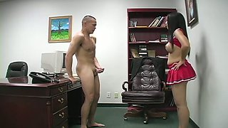 Topless cheerleader in shirt sexy skirt jerks off cock