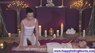 Lesbo masseuse seducing gorgeous customer