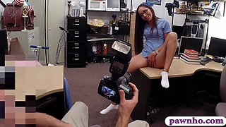 Desperate nurse boned by horny pawn man at the pawnshop