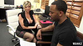 Sluttiest secretary ever takes on big black dick and cums