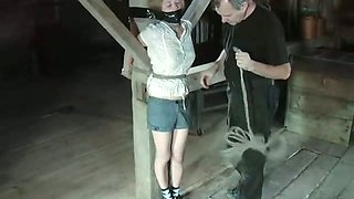 Tied to a pole blonde gets her shaved pussy punished