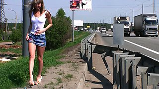 Fabulous and skinny playful Russian teen masturbates on the side of a highway