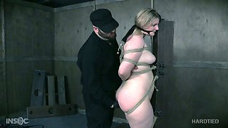 Chubby blonde slave Phoenix Rose is tied and toyed