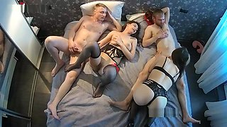 swinger party in stockings and beautiful panties - 4 some