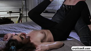 Brunette Arielle Faye tight pussy fucked in many angles