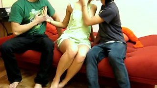 Spoiled college student got fucked by horny coeds in MMF threesome