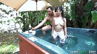 Busty Chinese seductress Jade Kush is having dirty sex by the poolside