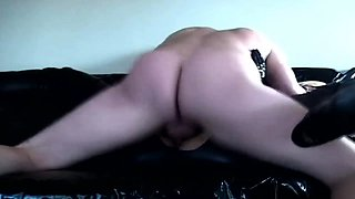 Big breasted blonde in latex gets drilled hard and creampied