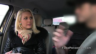 Blonde hottie sucks fake cops dick in car
