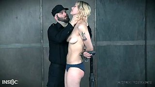 I attach her to a wooden device that has my slave completely vulnerable