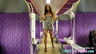 Very young girl flashing in the train
