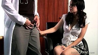 Lovely Babe Enjoys Tugging Doctor's Cock