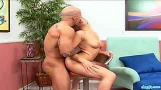 Bald headed dude picks up and fucks flexible blond chick Viki La Vie